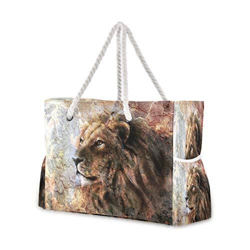 Hunihuni Strandtasche, Tierkunst, Malerei, Löwe, Schultertasche, Reisetasche mit Baumwollseil-Griffen, Reißverschluss oben, zwei Außentaschen