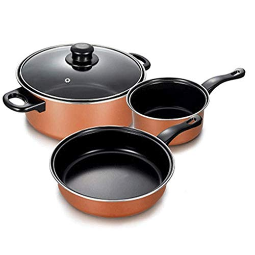 YYCHJU Cookware Set for Gas, Electric and Stovetop Nonstick Cookware Set Induction3 Piece Cooking Pots and Pans with Lids Home Kitchenware