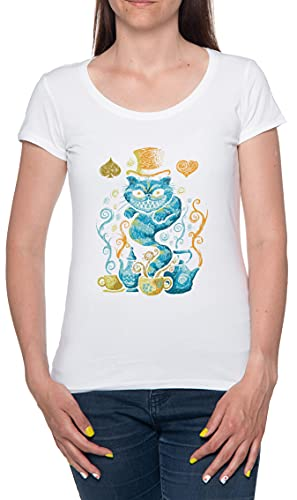 Magia Siniestro Gato Camiseta De Las Mujeres Manga Corta Blanco T-Shirt Women White tee XXL