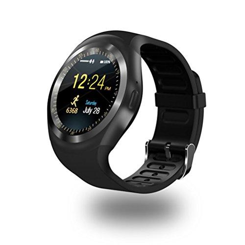 UKCOCO Y1 Relojes Inteligentes Bluetooth, SmartWatch de Pantalla Táctil Soporte Tarjeta SIM Tarjeta SD con Control Remoto de Sueño para iOS Android Smartphone (Negro)