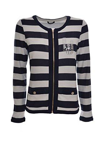 Liu Jo Sport felpa donna aperta giacca girocollo cotone a righe T17113F0639 (S, BIANCO/VIOLA)