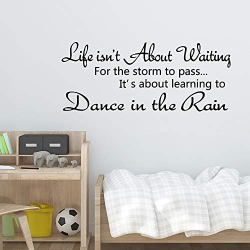 Lamubh Citas Modernas Danza bajo la Lluvia Frases Pegatina de Pared decoración de habitación de niñas para niños decoración de guardería calcomanía Mural 58cm X 141cm