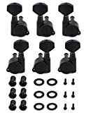 Metallor Locking Guitar String Tuning Pegs Tuning Keys Machines Heads Tuners 3L 3R for Electric Guitar Acoustic Guitar Parts Replacement Black.