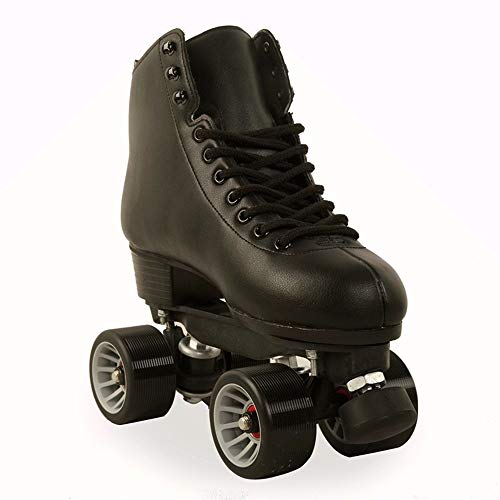 Patines de doble fila para mujer, zapatos de skate de 4 ruedas para niñas retro de cuero de dos líneas para exteriores (color: negro, tamaño: 39)