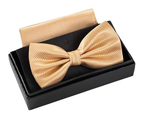 Massi Morino ® Herrenfliegen Set mit Tuch in Beige Männer Anzug Schleife Krawattenfliege bowtie champagner beigefarben champagnerfarben hellefliege beigefliege sandfarben