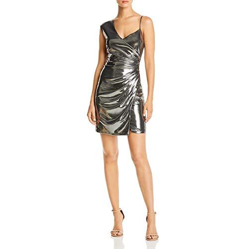 BCBG Max Azria Womens Metallic Mini Cocktail Dress Silver S