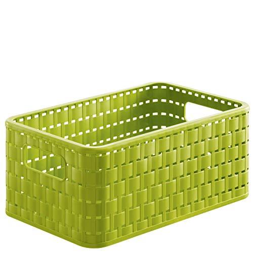 Rotho Country, Caja de almacenamiento de 6l en aspecto de ratán, Plástico PP sin BPA, verde, A5, 6l 28.0 x 18.5 x 12.6 cm