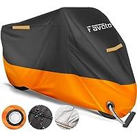 Favoto Funda para Moto Cubierta de la Moto 210D Impermeable Protectora a Prueba de UV Lluvia Polvo Viento Nieve Excremento de Pájaro al Aire Libre XXXL Negro+Naranja
