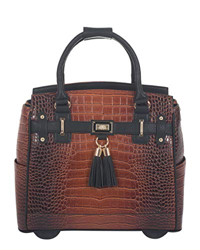 JKM and Company The Boston Alligator Crocodile Alligator Computer iPad, Laptop Tablet Rolling Tote Bag Briefcase Carryall Bag (17' 17.3' inch)