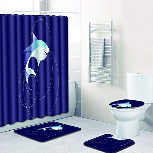 WANJIA Rutschfestes Badezimmer-Set, Duschvorhang + Badematte + U-förmige Badematte + WC-Abdeckung 4 Kombinationen+12 Haken für Duschvorhänge. 45 * 75cm W180613-D007
