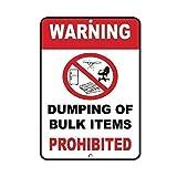 HERE YEARN Letrero de metal de seguridad prohibida de vertimiento de artículos a granel pintado moderno de la pared decoración de la sala de juegos reglas de la casa de metal cartel de arte