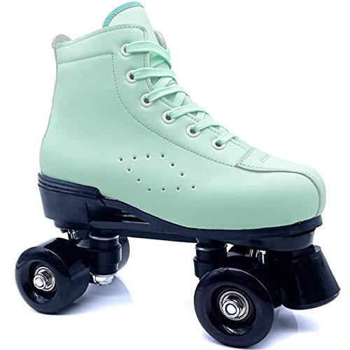 SummarLee Klassiker Rollschuhe Disco Roller für Frauen mit LED Glitter Zweireihige Skates Erwachsene Rollschuhe Rollschuh Eiskunstlauf,Black Wheel,35