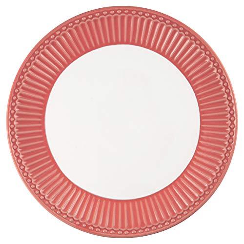 GreenGate - Teller, Kuchenteller, Frühstücksteller - Alice - Porzellan - Coral/rot - D:23 cm