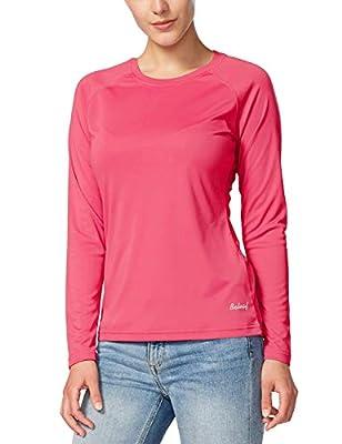 BALEAF Women's UPF 50+ Sun Protection T-Shirt SPF Long/Short Sleeve Outdoor Performance Hiking Shirt Rouge Red Size XXL