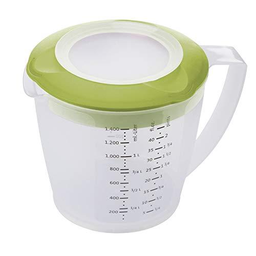 Westmark Caraffa graduata con paraschizzi, coperchio e beccuccio, Plastica, Capacità: 1,4 litri, Helena, Trasparente/Verde, 3105227A