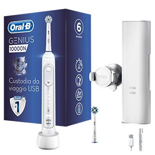 Oral-B Genius 10000N Spazzolino Elettrico Ricaricabile, 1 Manico Bianco Connesso, Bluetooth, 6...