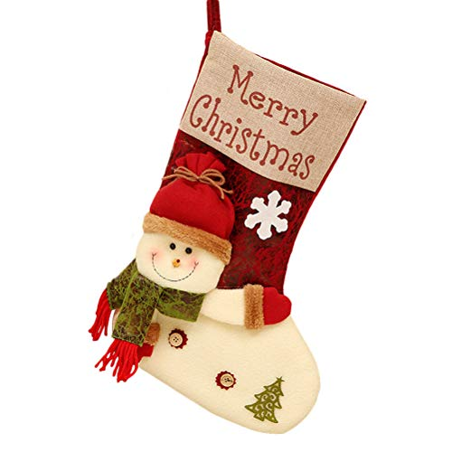 TONVER Tasche, weiches Stoff, Weihnachts-Socken-Form, Weihnachtsmann-Muster, Süßigkeiten-Aufbewahrungstasche für Weihnachten, Party, Dekoration, Wickeltasche für Kinder Jungen und Mädchen schneemann