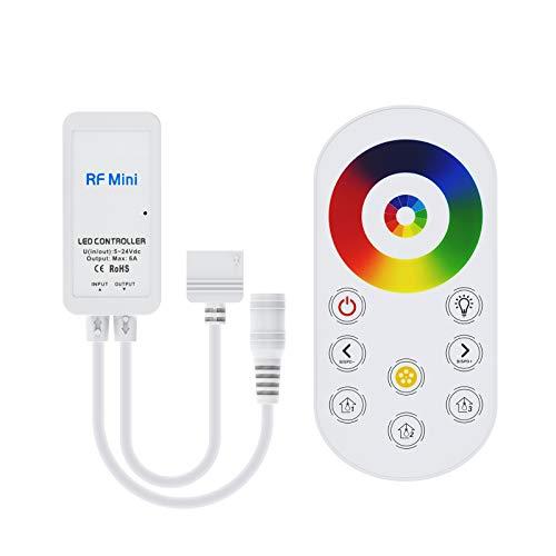 BTF-LIGHTING 5 PIN RGBW 5050 RGB+Blanco Excell RF Touch Mando a distancia para tiras de LED RGBW DC12V/DC24V Ajustar velocidad/brillo/color/escena