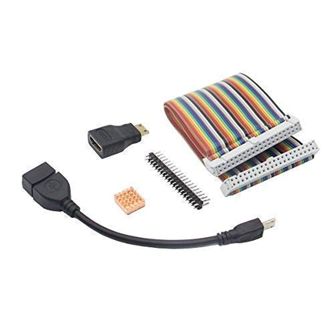 Geekworm Raspberry Pi Zero \ Zero W 2x20 Pin GPIO Cable + USB OTG Cable + Mini HDMI Adapter + 2x20 Pin Male Header + Copper Heat Sink 5in1 kit