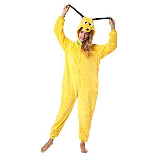 Katara 1744 -Hund Pluto Kostüm-Anzug Onesie/Jumpsuit Einteiler Body für Erwachsene Damen Herren als Pyjama oder Schlafanzug Unisex - viele Verschiedene Tiere
