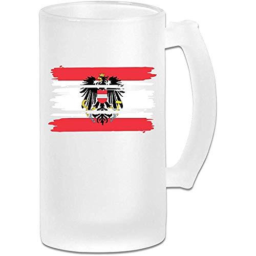 Frosted Bier Glas, Vlag van Oostenrijk Gepersonaliseerde Stein, Gift voor bierliefhebbers, 500Ml (16.9Oz)
