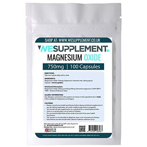 Magnesium Oxide 750mg Capsules Providing 400mg Elemental Magnesium Per Serving - 100 Capsules - High Strength - for Leg Cramps, Sore Muscles and PMS - Made in The UK by wesupplement