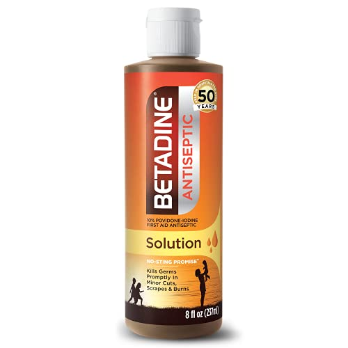 Betadine First Aid Solution 8 Ounces Povidone Iodine Antiseptic with No-Sting Promise (Packaging May Vary)
