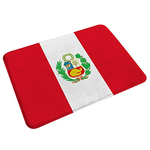 RUGSMAT Mikrofaser Badematte Teppich,Peru Flagge,Waschbarer bequemer Fußmatten-Teppich für Badezimmer 29.5