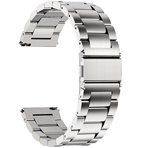 Fullmosa 3 Colores para Correa Metálica de Reloj de Liberación Rápida, Pulsera Reloj de Acero Inoxidable, Plata 22mm