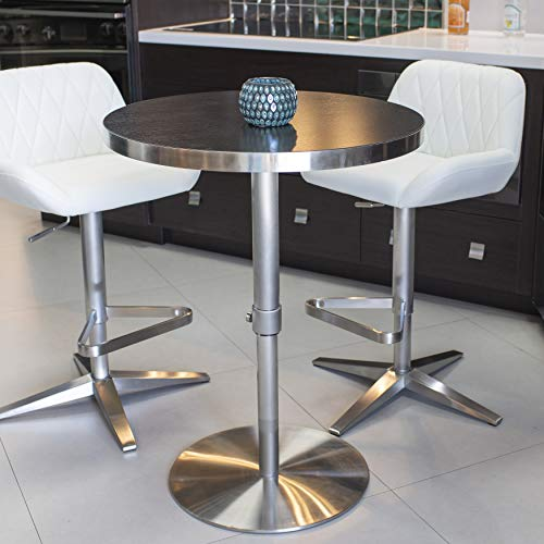 Mix Brushed Stainless Steel Round Wood Laminate Espresso Adjustable Height Swivel Bar Table with Pin Lock and Round Flat Slab Base Bar Height Stainless Steel Top