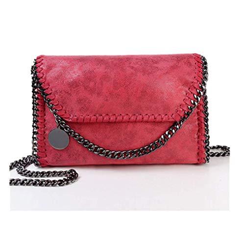 Bolso Casual para Mujer Bolso de Hombro de Cuero de PU Bolso de Cadena Bolso de Mano de Moda (Rojo)