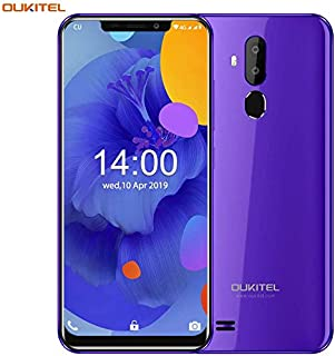 OUKITEL C12 Unlocked Smartphone Global 3G, 6.18 inches (19:9) Screen, 2GB +16GB, Android 8.1 OS, 8MP+2MP Cameras, Dual Sim, Face Fingerprint Recognition Unlocked Cell Phones- Purple
