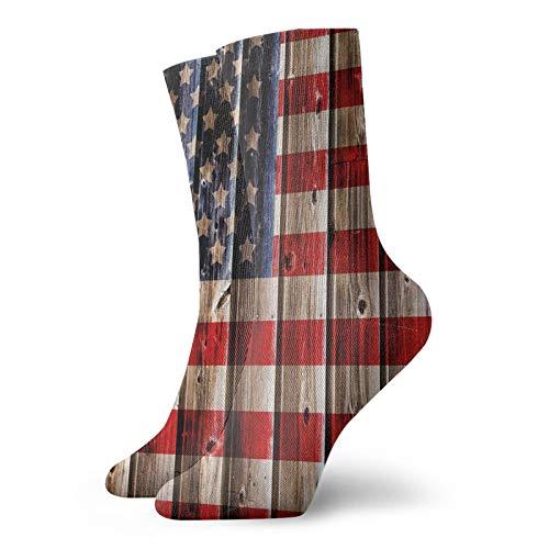 Calcetines suaves de media pantorrilla, telón de fondo rústico con diseño de bandera de Estados Unidos, diseño de tablas de madera, calcetines para hombres y mujeres