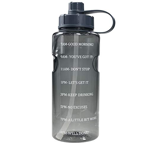 Half Gallon 64 OZ Water Bottle with Straw & Time Marker, BPA Free Reusable Motivational Water Bottle That Reminds You to Drink Water, Large Sports Water Bottle with Handle Easy to Carry Around For Fit