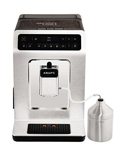 Krups EA891C Evidence Kaffevollautomat, OLED- Display, Barista Quattro Force Technologie, 12 Kaffee-Variationen, 3 Tee-Variationen, One-Touch-Cappuccino Funktion, 2-Tassen Funktion, metall