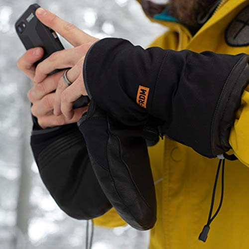 FRDM Cold Weather Snow Mitt Waterproof Windproof Leather Convertible Snowboard Ski Snowmobile for Men & Women
