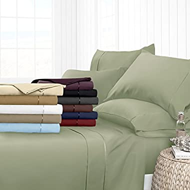 Egyptian Luxury Hotel Collection 4-Piece Bed Sheet Set - Deep Pockets, Wrinkle and Fade Resistant, Hypoallergenic Sheet and Pillow Case Set  - King, Sage