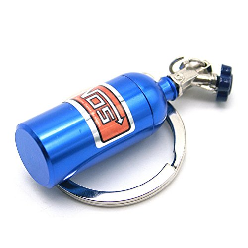Waterwood Creative Auto Parts Models Mini Nitrous Oxide Bottle Keychain Key Chain Ring-Blue