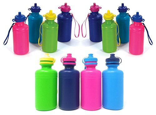 4E's Novelty Water Sports Bottles for Kids & Bikes, Pack of 12 Bulk, 7.5 inches, Great Summer Beach Accessory, Neon Colors - Holds About 18oz of water