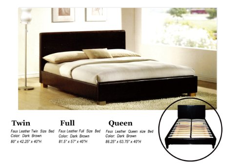 Hot Sale Faux Leather Platform Bed with Built In Box Spring and Headboard (Full)