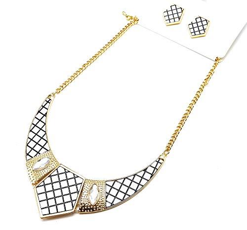 BO/PA106-Parure collana con pettorina, punta a quadretti, motivo trapuntato, colore pietre: Bianco e...