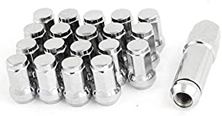 AutoTrends 16 Pcs M12x1.5mm Chrome Silver Security Locking Heptagon Closed Ended Lug Nuts for Car
