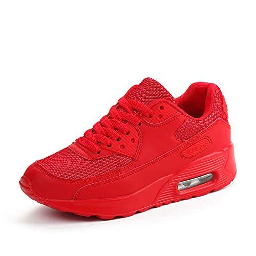 Mujer Zapatillas de Deporte con Amortiguación de Aire Zapatos con Cordones Transpirables para Caminar Correr Rojo EU 35
