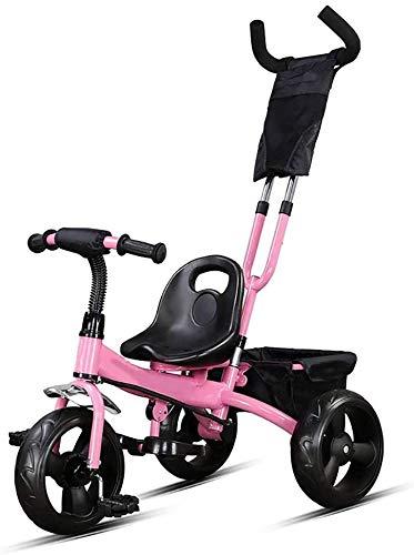 WLD kinderwagen 'S Training Vehicle' driewieler kinderwagen, Push and Ride 1-3 – 6 jaar, draagbare driewielersstoel ter verhoging van de opbergmand 3 opties Roze.
