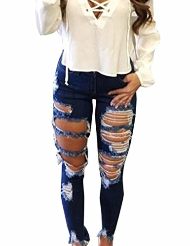 Sexyshine Women's Casual High Waisted Skinny Destroyed Ripped Hole Denim Pants Long Stretch Pencil Jeans(BE,XL)