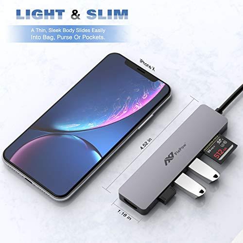 FlePow USB C Hub 7 in 1 USB Hub,Aluminium-Docking Station mit 4 K HDMI-Ausgang,3 USB 3.0 Ports,SD/Micro SD,Kompatibel für Verschiedene Typ C Geräte