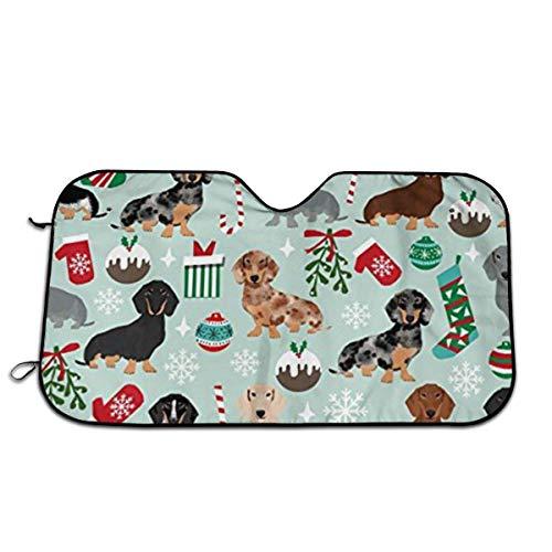WH-CLA Coche Parabrisas Sun Shade Xmas Holiday Dog Dachshund Verano A Prueba De Polvo Impreso Protege El Interior del Vehículo Y Lo Mantiene Fresco Visera Personalizada Protector De Prote
