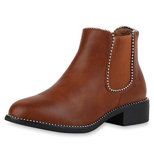 SCARPE VITA Damen Chelsea Boots Ketten Stiefeletten Leder-Optik Schuhe Blockabsatz Ankle Booties Kurzschaft-Stiefel 186157 Hellbraun Braun 39