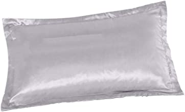 gazechimp Fronhas de Seda de Luxo de Cor Sólida Queen Size 20 X 30 Polegadas - Silver Grey, Tamanho real