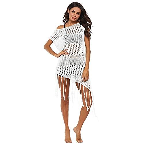 XUANYA Blusa Bikini,Costura Irregular De Las Mujeres Largo Borlas Sexy Hollow Perspectiva Casual Moda Playa Hueco Fuera Bikini Cubrir Regalo De Vestido De Traje De Baño De Verano, Blanco, L